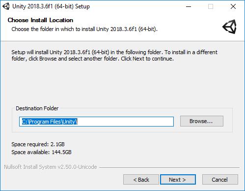 Gambar 5 Menentukan Lokasi  Unity3d di Windows