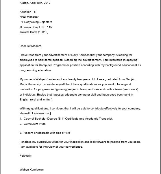 Contoh Surat Lamaran Kerja Mekanik Dalam Bahasa Inggris Dan