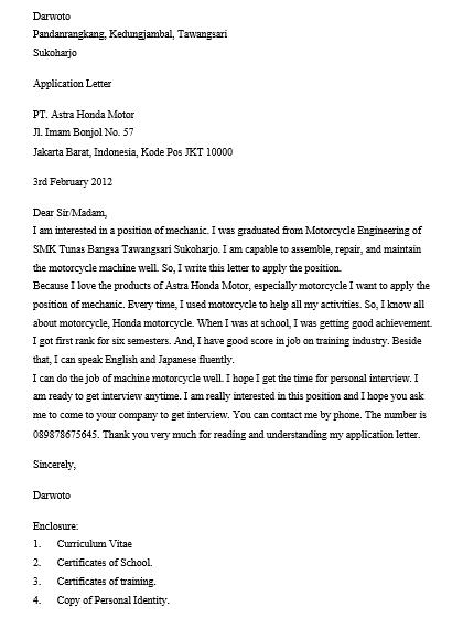 Contoh 10 Surat Lamaran Kerja Bahasa Inggris