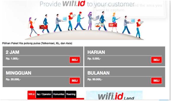 Harga Paket Wifi id dengan Pulsa