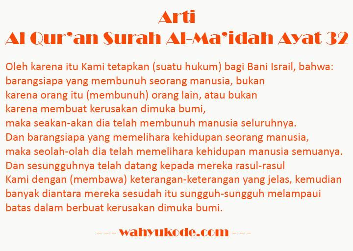 Arti Perkata Surat Al Maidah Ayat 32