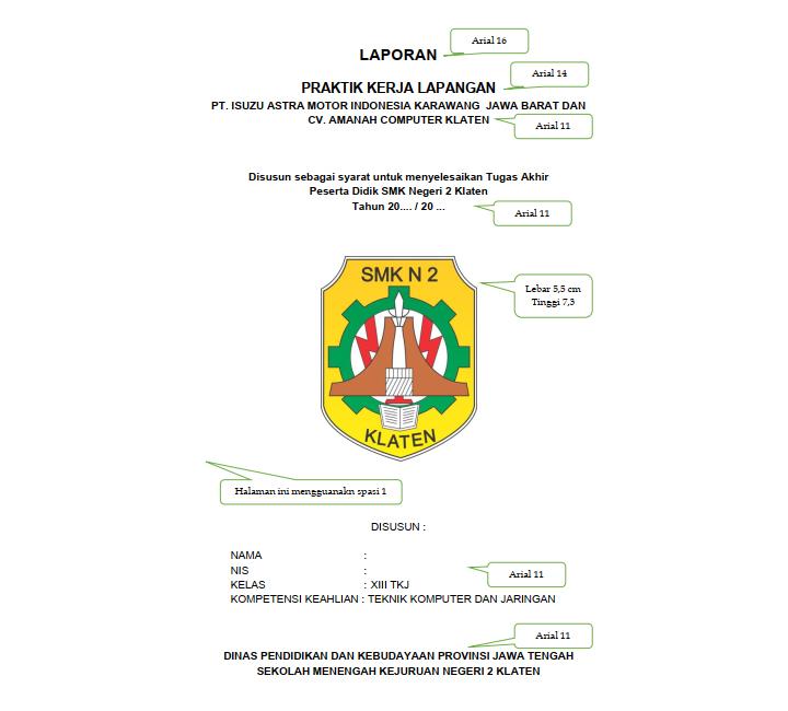 Pedoman Penyusunan Cover Laporan PKL SMK